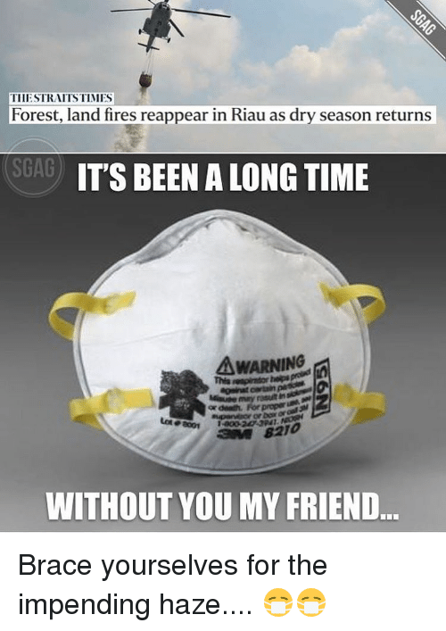 Memes, Braces, and Brace Yourselves: TIIESTRAITSTIMIES  Forest, land fires reappear in Riau as dry season returns  SGAG  IT'S BEEN A LONG TIME  A WARNING  or death, For prepar  WITHOUT YOU MY FRIEND Brace yourselves for the impending haze.... 😷😷