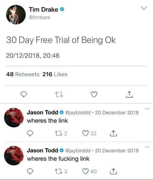 Drake, Fucking, and Free: Tim Drake  @timbers  30 Day Free Trial of Being Ok  20/12/2018, 20:46  48 Retweets 216 Likes  Jason Todd @jaybirddd . 20 December 2018  wheres the link  Jason Todd @jaybirddd-20 December 2018  wheres the fucking link  40