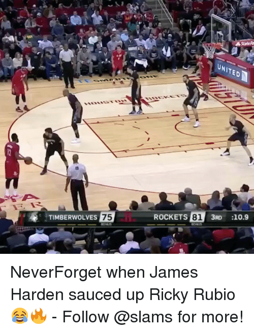 James Harden, Memes, and 🤖: TIMBERWOLVES  75  ROCKETS  81  3RD 10.9 NeverForget when James Harden sauced up Ricky Rubio 😂🔥 - Follow @slams for more!