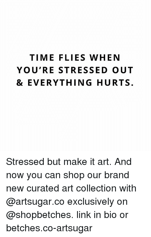 Link, Time, and Girl Memes: TIME FLIES WHEN  YOU'RE STRESSED OUT  & EVERYTHING HURTS. Stressed but make it art. And now you can shop our brand new curated art collection with @artsugar.co exclusively on @shopbetches. link in bio or betches.co-artsugar
