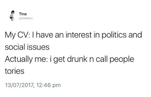 Drunk, Politics, and Humans of Tumblr: Tina  @tinasticS  My CV: I have an interest in politics and  social issues  Actually me: i get drunk n call people  tories  13/07/2017, 12:46 pm
