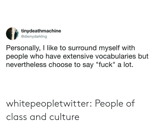 """Tumblr, Blog, and Fuck: tinydeathmachine  @diemydarkling  Personally, I like to surround myself witlh  people who have extensive vocabularies but  nevertheless choose to say """"fuck"""" a lot. whitepeopletwitter:  People of class and culture"""