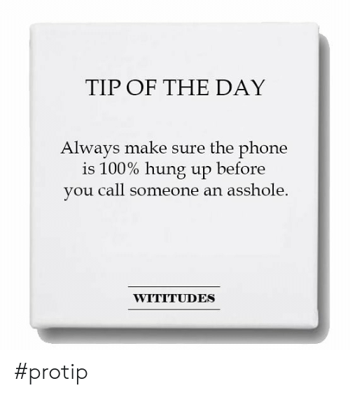 Dank, Phone, and Hung Up: TIP OF THE DAY  Alwavs make sure the phone  is 100% hung up before  you call someone an asshole.  WITITUDES #protip