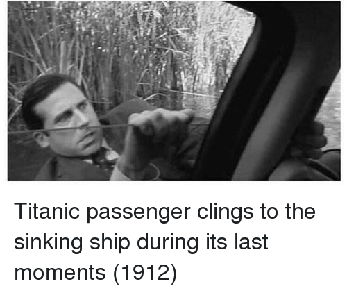 Titanic, Passenger, and Ship: Titanic passenger clings to the sinking ship during its last moments (1912)