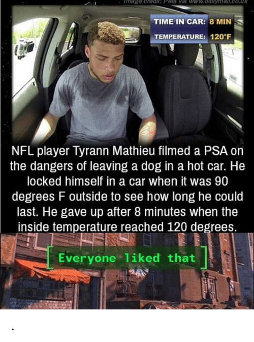 Nfl, Peta, and Time: Tmage .credit Peta Ve ww.dalilyma  TIME IN CAR: 8 MIN  TEMPERATURE: 120 F  NFL player Tyrann Mathieu filmed a PSA on  the dangers of leaving a dog in a hot car. He  locked himself in a car when it was 90  degrees F outside to see how long he could  last. He gave up after 8 minutes when the  inside temperature reached 120 degrees.  Everyone 1iked that .