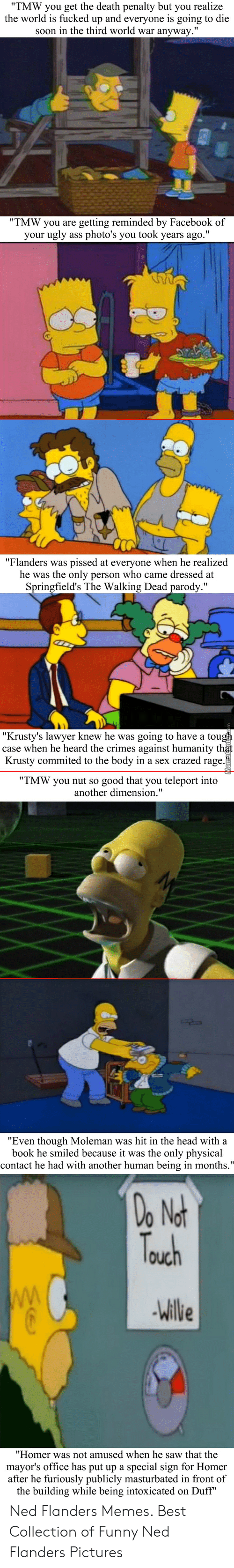 """Ned Flanders Memes: """"TMW you get the death penalty but you realize  the world is fucked up and everyone is going to die  soon in the third world war anyway.""""  """"TMW you are  getting reminded by Facebook of  your ugly ass photo's you took years ago.""""  """"Flanders was  he was the only person who came dressed at  Springfield's The Walking Dead parody.""""  pissed at everyone when he realized  """"Krusty's lawyer knew he was going to have a tough  case when he heard the crimes against humanity that  Krusty commited to the body in a sex crazed rage.  """"TMW you nut so  good that you teleport into  another dimension.""""  """"Even though Moleman was hit in the head with a  book he smiled because it was the only physical  contact he had with another human being in months.""""  Do  Not  Truch  WW  Willie  """"Homer was not amused when he saw that the  mayor's office has put up a special sign for Homer  after he furiously publicly masturbated in front of  the building while being intoxicated on Duff"""" Ned Flanders Memes. Best Collection of Funny Ned Flanders Pictures"""