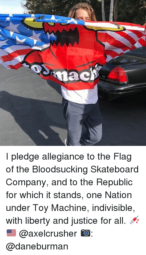 Memes, Skateboarding, and Justice: tnac I pledge allegiance to the Flag of the Bloodsucking Skateboard Company, and to the Republic for which it stands, one Nation under Toy Machine, indivisible, with liberty and justice for all. 💉🇺🇸 @axelcrusher 📷: @daneburman