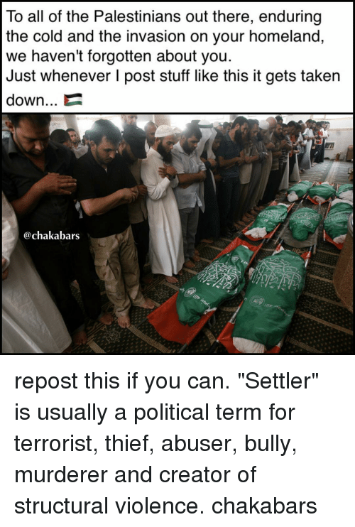 "Memes, Taken, and Homeland: To all of the Palestinians out there, enduring  the cold and the invasion on your homeland,  we haven't forgotten about you.  Just whenever I post stuff like this it gets taken  down...  @chakabars repost this if you can. ""Settler"" is usually a political term for terrorist, thief, abuser, bully, murderer and creator of structural violence. chakabars"