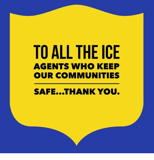 Thank You, All The, and Ice: TO ALL THE ICE  AGENTS WHO KEEP  OUR COMMUNITIES  SAFE...THANK YOU