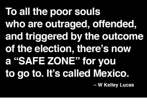 """Safe Zone: To all the poor souls  who are outraged, offended,  and triggered by the outcome  of the election, there's now  a """"SAFE ZONE"""" for you  to go to. It's called Mexico.  W Kelley Lucas"""