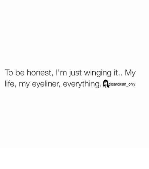 Funny, Life, and Memes: To be honest, I'm just winging it.. My  life, my eyeliner, everything  only ⠀
