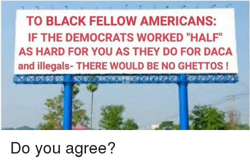 """Memes, Black, and 🤖: TO BLACK FELLOW AMERICANS:  IF THE DEMOCRATS WORKED """"HALF""""  AS HARD FOR YOU AS THEY DO FOR DACA  and illegals- THERE WOULD BE NO GHETTOS! Do you agree?"""