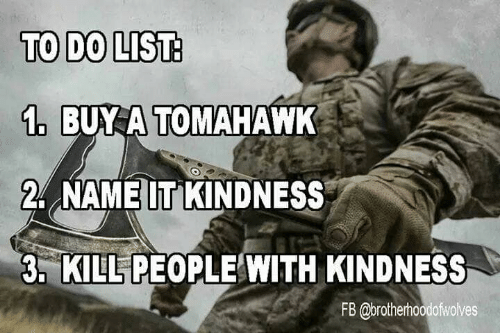 Memes, Kindness, and 🤖: TO DO LIST  1BA TOMAHAWK  2 NAMEIT KINDNESS  3, KILL PEOPLE WITH KINDNESS  FB @brotherhoodofwolves