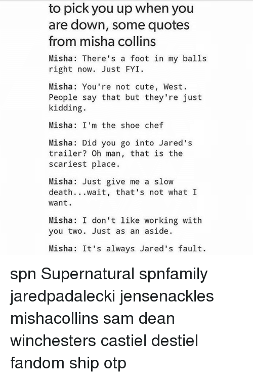 Cute, Memes, and Chef: to pick you up when you  are down, some quotes  from misha collins  Misha: There's a foot in my balls  right now. Just FYI  Misha: You're not cute, West.  People say that but they're just  kidding.  Misha: I'm the shoe chef  Misha: Did you go into Jared's  trailer? Oh man, that is the  scariest place.  Misha Just give me a slow  death  wait, that's not what I  want.  Misha: I don't like working with  you two. Just as an aside.  Misha: It's always Jared's fault. spn Supernatural spnfamily jaredpadalecki jensenackles mishacollins sam dean winchesters castiel destiel fandom ship otp