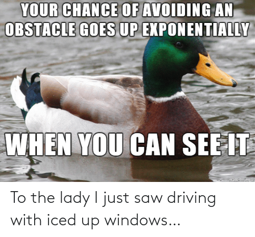 Driving: To the lady I just saw driving with iced up windows…