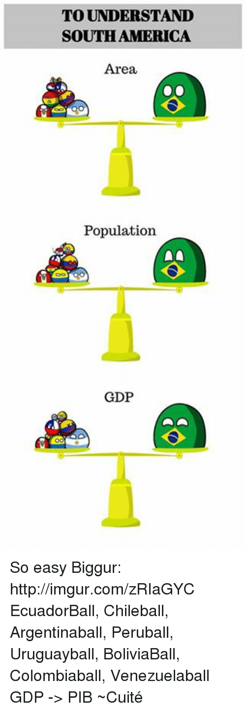 Dank, 🤖, and Gdp: TO UNDERSTAND  SOUTH AMERICA  Area,  Population  GDP So easy  Biggur: http://imgur.com/zRIaGYC  EcuadorBall, Chileball, Argentinaball, Peruball, Uruguayball, BoliviaBall, Colombiaball, Venezuelaball  GDP -> PIB  ~Cuité