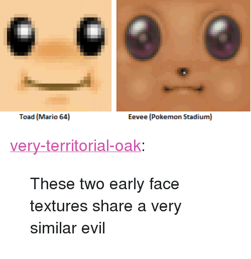 """Pokemon, Tumblr, and Mario: Toad Mario 64  Eevee (Pokemon Stadium) <p><a href=""""http://very-territorial-oak.tumblr.com/post/168775988525/these-two-early-face-textures-share-a-very-similar"""" class=""""tumblr_blog"""">very-territorial-oak</a>:</p><blockquote><p>These two early face textures share a very similar evil</p></blockquote>"""