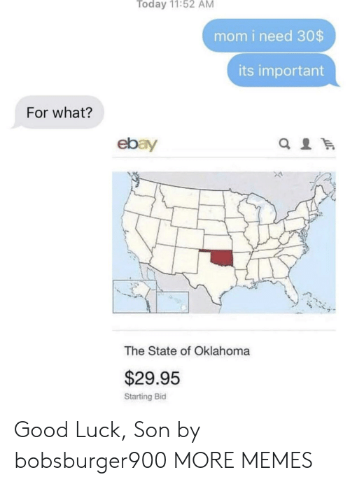 Dank, eBay, and Memes: Today 11:52 AM  mom i need 30$  its important  For what?  ebay  The State of Oklahoma  $29.95  Starting Bid Good Luck, Son by bobsburger900 MORE MEMES