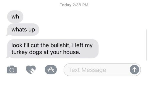 Dogs, House, and Text: Today 2:38 PM  wh  whats up  look I'll cut the bullshit, i left my  turkey dogs at your house.  O  (Text Message