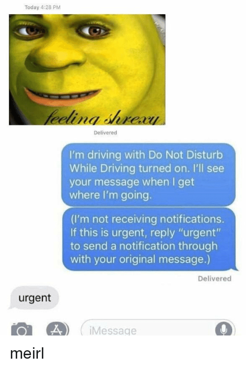 "Driving, Today, and MeIRL: Today 4:28 PM  Delivered  I'm driving with Do Not Disturb  While Driving turned on. I'll see  your message when I get  where I'm going.  (I'm not receiving notifications.  If this is urgent, reply ""urgent""  to send a notification through  with your original message.)  Delivered  urgent  Message meirl"