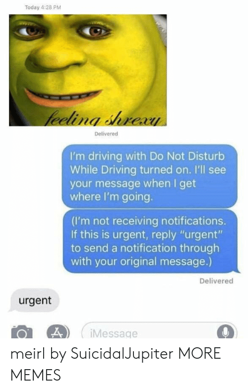 "Dank, Driving, and Memes: Today 4:28 PM  Delivered  I'm driving with Do Not Disturb  While Driving turned on. I'll see  your message when I get  where I'm going.  (I'm not receiving notifications.  If this is urgent, reply ""urgent""  to send a notification through  with your original message.)  Delivered  urgent  Message meirl by SuicidalJupiter MORE MEMES"