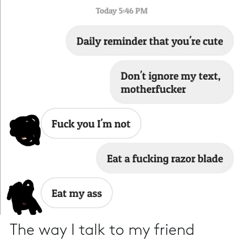 razor blade: Today 5:46 PM  Daily reminder that you're cute  Don't ignore my text,  motherfucker  Fuck you I'm not  Eat a fucking razor blade  Eat my ass The way I talk to my friend