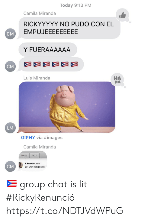 Group Chat, Lit, and Memes: Today 9:13 PM  Camila Miranda  RICKYYYYY NO PUDO CON EL  EMPUJEEEEEEEEE  CM  Y FUERAAAAAA  EEEEEE  CM  HA  HA  Luis Miranda  LM  GIPHY via #images  Camila Miranda  PAGES  TEXT  R Rossello admin  CM  Jal Gran trabajo guys! 🇵🇷 group chat is lit #RickyRenunció https://t.co/NDTJVdWPuG