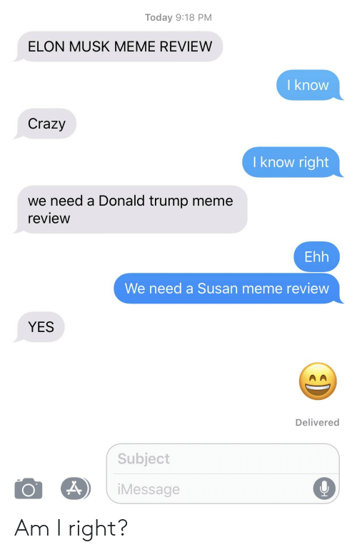 Crazy, Donald Trump, and Meme: Today 9:18 PM  ELON MUSK MEME REVIEW  I know  Crazy  I know right  we need a Donald trump meme  review  Ehh  We need a Susan meme review  YES  Delivered  Subject  iMessage Am I right?