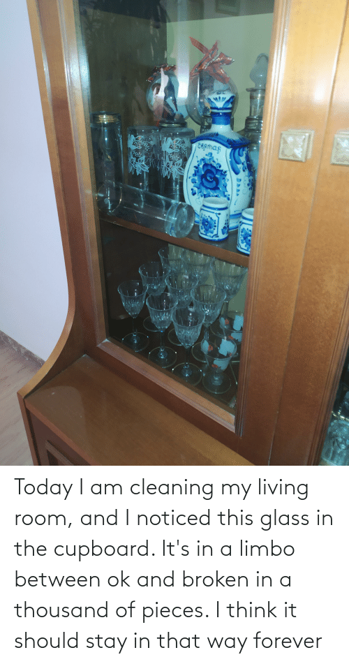 Stay In: Today I am cleaning my living room, and I noticed this glass in the cupboard. It's in a limbo between ok and broken in a thousand of pieces. I think it should stay in that way forever