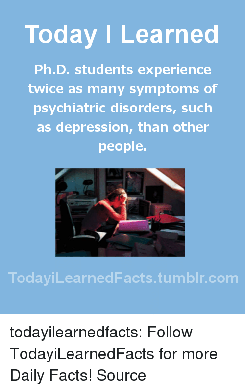 Facts, Tumblr, and Blog: Today I Learned  Ph.D. students experience  twice as many symptoms of  psychiatric disorders, such  as depression, than other  people.  TodaviLearned Facts.tumblr.com todayilearnedfacts: Follow TodayiLearnedFacts for more Daily Facts! Source