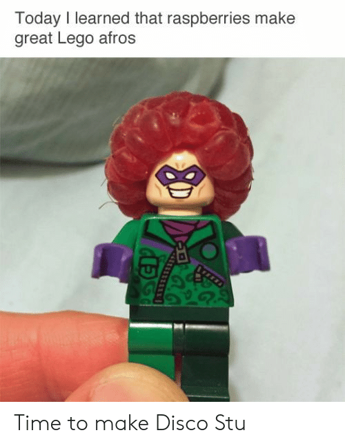 disco: Today I learned that raspberries make  great Lego afros Time to make Disco Stu