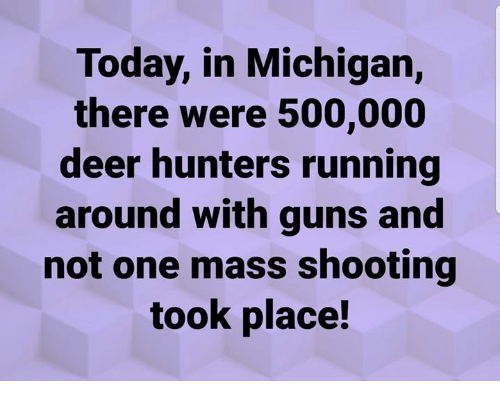Deer, Guns, and Memes: Today, in Michigan,  there were 500,000  deer hunters running  around with guns and  not one mass shooting  took place!