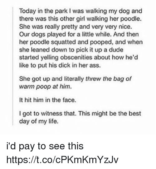 Ass, Dogs, and Dude: Today in the park I was walking my dog and  there was this other girl walking her poodle.  She was really pretty and very very nice.  Our dogs played for a little while. And then  her poodle squatted and pooped, and when  she leaned down to pick it up a dude  started yelling obscenities about how he'd  like to put his dick in her ass.  She got up and literally threw the bag of  warm poop at him.  It hit him in the face.  I got to witness that. This might be the best  day of my life. i'd pay to see this https://t.co/cPKmKmYzJv