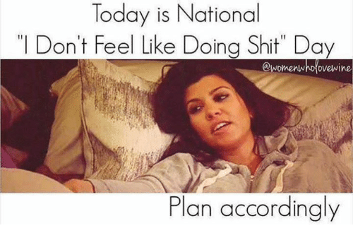 "Dank, Shit, and Today: Today is National  "" Don't Feel Like Doing Shit"" Day  @womenwho ovewine  Plan accordingly"