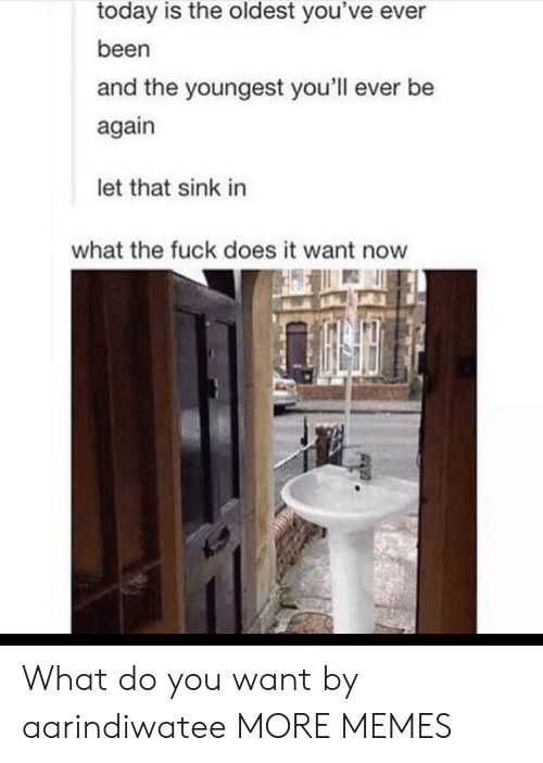 Youngest: today is the oldest you've ever  been  and the youngest you'll ever be  again  let that sink in  what the fuck does it want now What do you want by aarindiwatee MORE MEMES