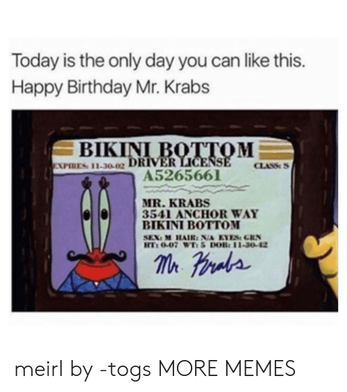 Birthday, Dank, and Memes: Today is the only day you can like this.  Happy Birthday Mr. Krabs  BIKINI I  EXPIRES: 11.3002  CLASS  A5265661  MR. KRABS  3541 ANCHOR WAY  BIKINI BOTTOM  T: 0-07 WTi 5 DOB: 11-30-42 meirl by -togs MORE MEMES