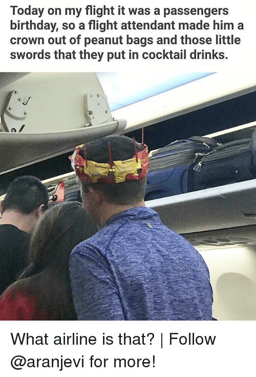 Birthday, Memes, and Flight: Today on my flight it was a passengers  birthday, so a flight attendant made him a  crown out of peanut bags and those little  swords that they put in cocktail drinks. What airline is that? | Follow @aranjevi for more!