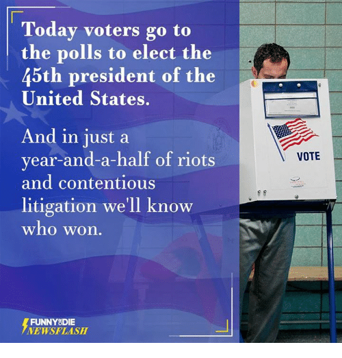 Dank, Riot, and Presidents: Today voters go to  the polls to elect the  45th president of the  United States.  And in just a  year-and-a-half of riots  and contentious  litigation we'll know  who won.  FUNNY DIE  NEWSFLASH  VOTE