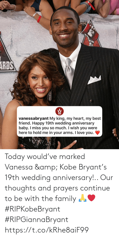 Marked: Today would've marked Vanessa & Kobe Bryant's 19th wedding anniversary!.. Our thoughts and prayers continue to be with the family 🙏❤️ #RIPKobeBryant #RIPGiannaBryant https://t.co/kRhe8aiF99