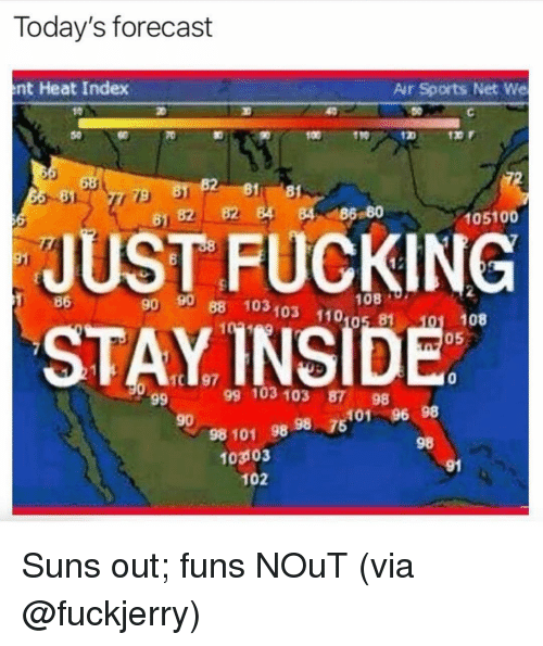 Andrew Bogut, Fucking, and Memes: Today's forecast  nt Heat Index  Air Sports Net We  011910  81 8  B2 4 84 186 80  81  105100  JUST FUCKING  STAYINSIDE  86  n 90 88 103103 110 81  90  08  108  05  0  99 103 103 87 98  5101 96 98  98  90  98 101 98 98  7  103103  91  102 Suns out; funs NOuT (via @fuckjerry)