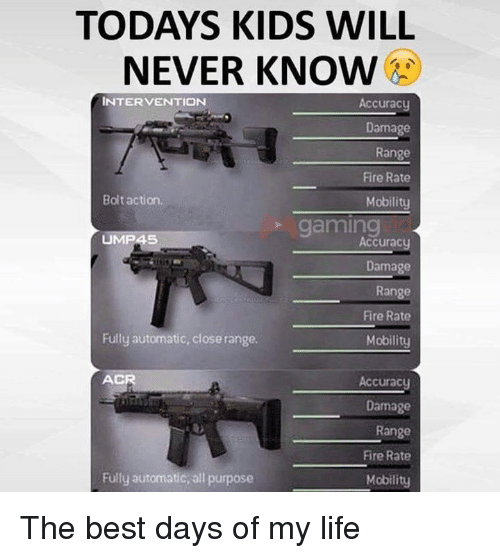 Dank, Fire, and Life: TODAYS KIDS WILL  NEVER KNOW  INTERVENTION  Accuracy  Damage  Range  Fire Rate  Mobility  Bolt action.  gaming  UMP45  Accuracy  Damage  Range  Fire Rate  Mobility  Fully automatic, close range.  AC  Accuracy  Damage  Range  Fire Rate  Fully automatic, all purpose  Mobility The best days of my life