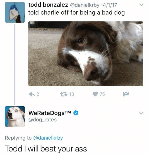 Ass, Bad, and Charlie: todd bonzalez @danielkrby 4/1/17  told charlie off for being a bad dog  13  75  WeRateDogsTM  @dog_rates  Replying to @danielkrby  Todd I will beat your ass