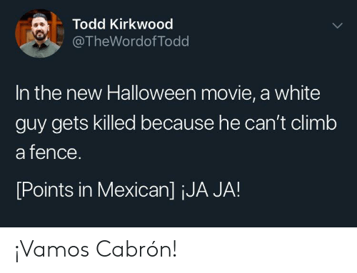 Halloween, Movie, and White: Todd Kirkwood  @TheWordof Todd  In the new Halloween movie, a white  guy gets killed because he can't climb  a fence.  [Points in Mexican] jJA JA! ¡Vamos Cabrón!
