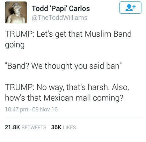 "Memes, Trump, and Harsh: Todd Papi"" Carlos  The Todd Williams  TRUMP: Let's get that Muslim Band  going  ""Band? We thought you said ban  TRUMP: No way, that's harsh. Also,  how's that Mexican mall coming?  10:47 pm 09 Nov 16  21.8K  RETWEETS  36K  LIKES"