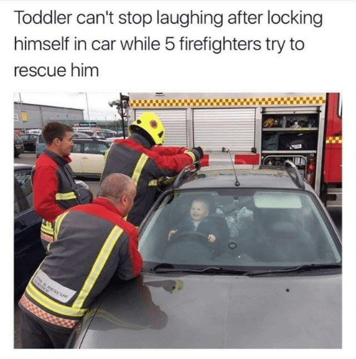 Dank, 🤖, and Car: Toddler can't stop laughing after locking  himself in car while 5 firefighters try to  rescue him