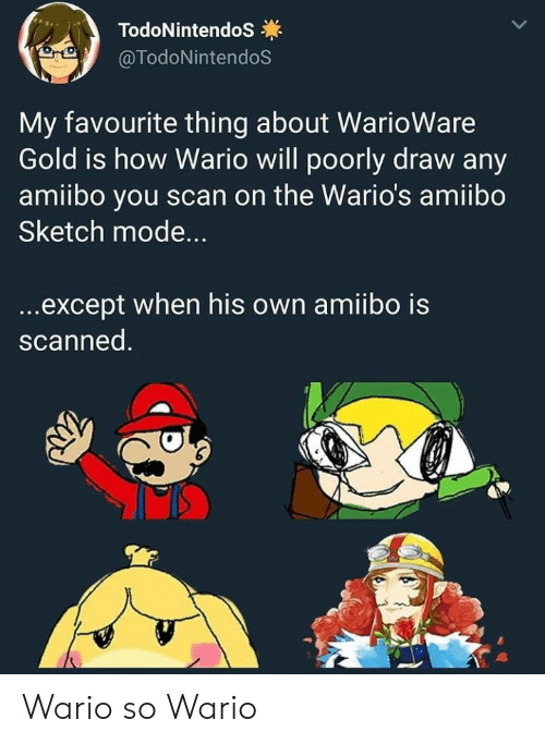 Exceptable: TodoNintendoS  @TodoNintendoS  My favourite thing about WarioWare  Gold is how Wario will poorly draw any  amiibo you scan on the Wario's amiibo  Sketch mode...  ...except when his own amiibo is  scanned. Wario so Wario