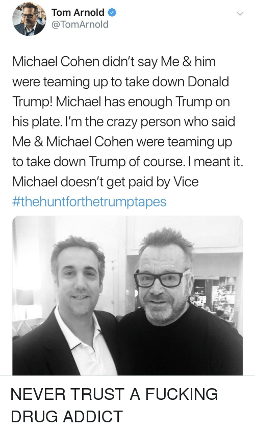 Crazy, Donald Trump, and Fucking: Tom Arnold  @TomArnold  Michael Cohen didn't say Me & him  were teaming up to take down Donald  Trump! Michael has enough Trump on  his plate. I'm the crazy person who said  Me & Michael Cohen were teaming up  to take down Trump of course. Imeant it  Michael doesn't get paid by Vice