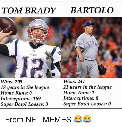 Losses: TOM BRADY BARTOLO  12  Wins: 247  21 years in the league  Wins: 205  18 years in the league  Home Runs: 0  Interceptions: 169  Super Bowl Losses: 3  Home Runs: 1  Interceptions: 0  Super Bowl Losses: 0 From NFL MEMES 😂😂
