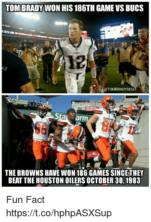 Memes, Tom Brady, and Browns: TOM BRADY WON HIS 186TH GAME VS BUCS  @TOMBRADYSEGO  5  Sta arm  CL  CLE  6  THE BROWNS HAVE WON 186 GAMES SINCE THEY  BEAT THE HOUSTON OILERS OCTOBER 30,1983 Fun Fact https://t.co/hphpASXSup