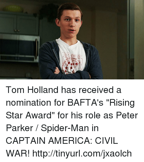 """Captain America: Civil War, Memes, and Spider: Tom Holland has received a nomination for BAFTA's """"Rising Star Award"""" for his role as Peter Parker / Spider-Man in CAPTAIN AMERICA: CIVIL WAR!  http://tinyurl.com/jxaolch"""